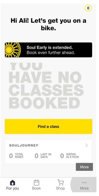 booking a class in soulcycle app